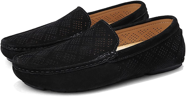 Dig dog bone Men's Driving Loafers Breathable Perforation Genuine Leather Upper Boat Moccasins