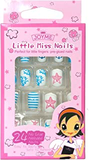Fake Nails for Kids 24 Pcs Pre-glue Press On Girls Fake Nails Tips