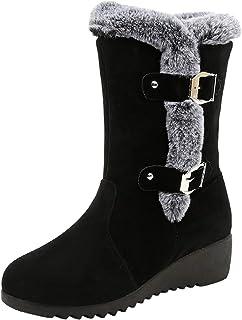 WWricotta Dameslaarzen, vrijetijdsschoenen, plateauschoenen, wildleer, pluche, gesp, sneeuwschoenen, warme gevoerde winter...