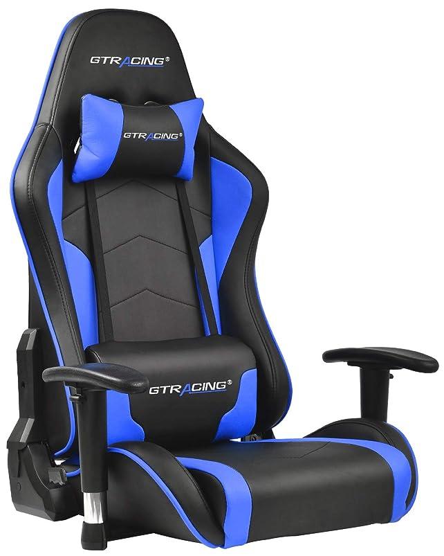 ネズミジェームズダイソン量でGTRACING ゲーミングチェア 座椅子 180度リクライニング ハイバック 可動肘 ヘッドレスト クッション付き 一年無償部品交換保証 (89-BLUE)
