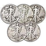 1941-1945 Liberty Walking Half Dollar 5 Coin...