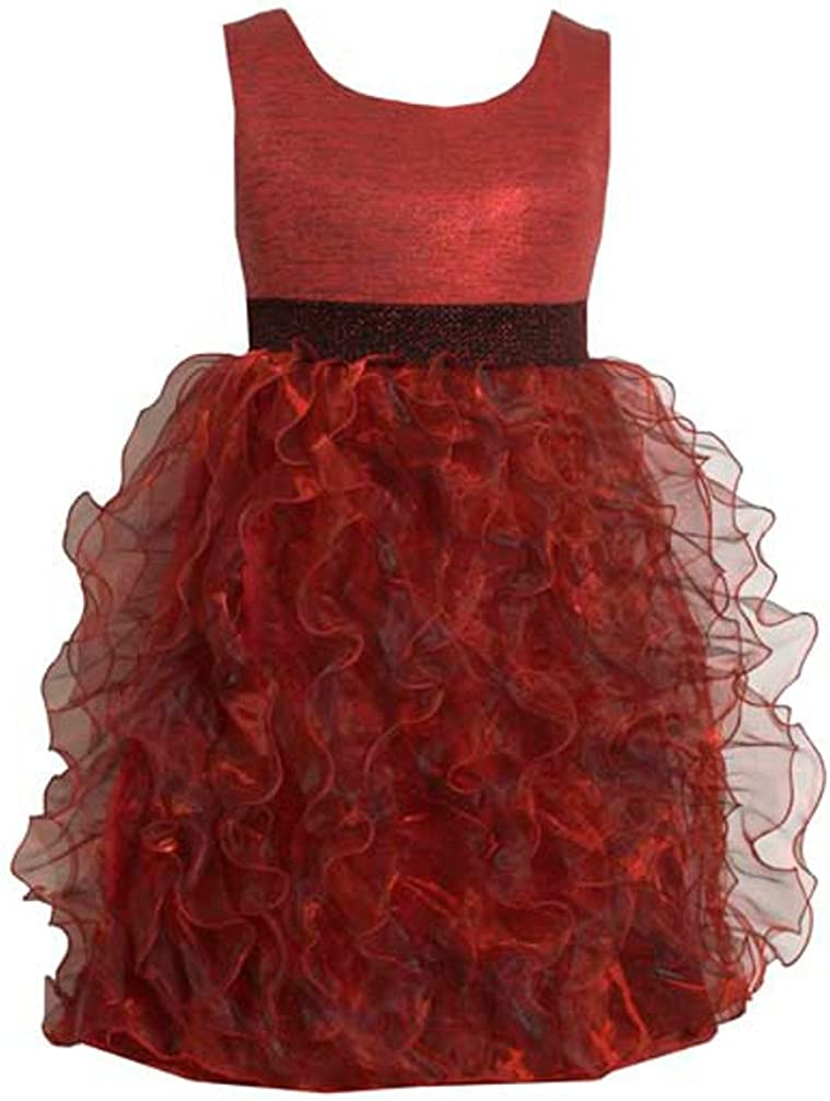Party Dresses Girls Red Organza Metallic Chiffon Dress 4