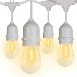 SUNTHIN Waterproof LED Outdoor String Lights 48ft Patio Lights White Cord Hanging Light with 15 E26 Sockets 18 Pcs 0.9 Watt S14 Edison Bulbs 3 Spares Wedding Dinner String Lighting