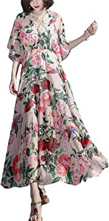 Women Summer Floral Printed Dress V Neck Short Sleeve Ruffle Casual Loose Swing Dresses غير رسمي (Color : Pink, Size : XL)