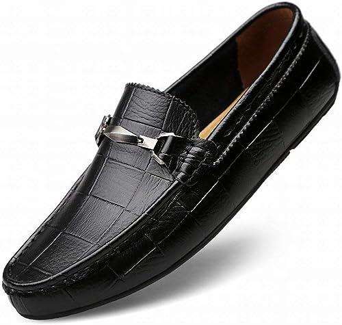 Fuxitoggo Fuxitoggo Fuxitoggo Mode Britannique Peas Chaussures en Cuir Chaussures Tout-Aller Pieds antidérapants Chaussures pour Hommes (Couleuré   Noir, Taille   41) 007