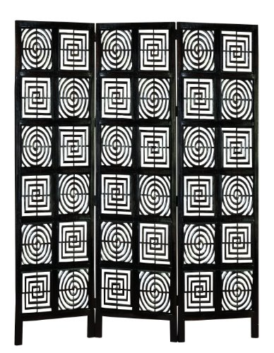 Deco 79 Hand Carved Wood Panel Screen, Set of 3