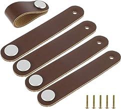 5 stuks meubeldeurgreep eerste laag leer, hardware deurgreep PU lederen meubels hardware dubbele spijkers 14cm (bruin)