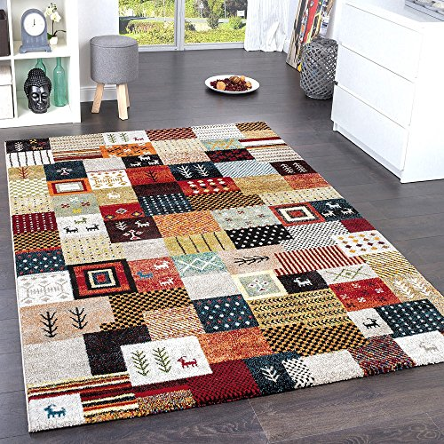 Paco Home Designer Teppiche Modern Loribaft Nomaden Teppich Terra Rot Grün Multicolour, Grösse:120x170 cm