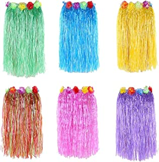 "Newcreativetop 24"" Adult's Flowered Luau Hula Skirts Pack of 6,Assorted Colors"