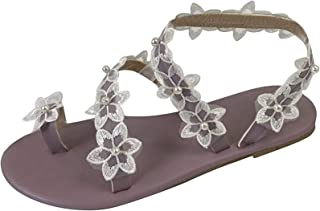 Femmes Bohême Sandales Plates Été Boho Peep Clip Toe T-Sangle Chaussures De Plage Vintage Flip Flops Tongs Pantoufles