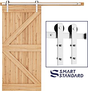 SMARTSTANDARD 6.6ft Nickel Brushed Heavy Duty Sliding Barn Door Hardware Kit, Single Rail, Silver, Super Smoothly and Quietly, Simple and Easy to Install, Fit 36