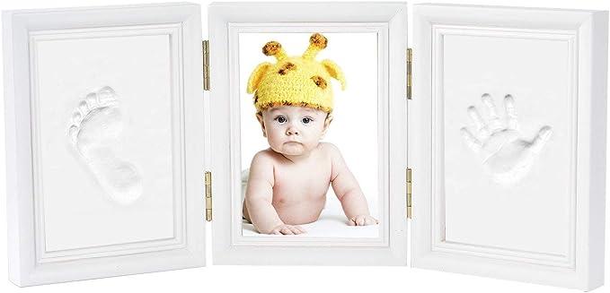 1804 opinioni per Impronta Bambino- Newlemo Cornice Bambino Baby con Porta Foto in Legno per Mani