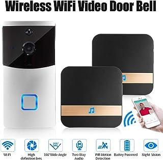 Cámara de timbre inteligente con WiFi timbre de video con video HD alertas activadas por movimiento fácil instalación NO BATTERY