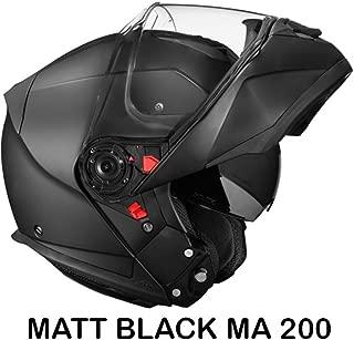 SMK Glide Flip Up Designer Helmet, MATT BLACK MA200, Matt Black, L - 59 Cms, Plain Visor