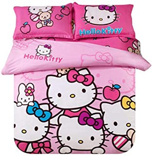 Warm Embrace Kids Bedding Teen Comforter Set Girls Children Bed in a Bag Hello Kitty Pink,Duvet Cover and Pillowcase and Flat Sheet and Comforter,Twin Size,4 Piece