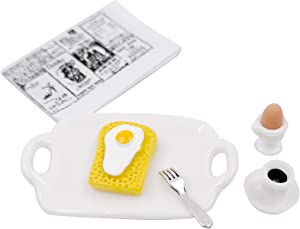 Tukeajuko Miniature Dollhouse Accessories Breakfast Bread Egg Coffee Plate Fork Doll House Mini Kit Decor Furniture Set 1 12 Scale