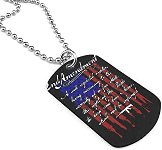 2nd Amendment Brand Vintage American Flag Dog Tag Pendant Necklace Military Chain Air Force Pendant Zinc Alloy Necklace Festival Military Necklaces for Great Gift Idea