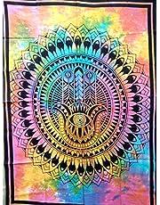 ICC Hamsa Hand Poster Hand god Tapestry Wall Hanging hamesh chamsa Khamsa Dorm Collage Bohemian Art Psychedelic Small Hippie Rasta Wall Hanging Ganja 30x40 inches (Multi Color)