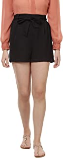 BESIVA Women's Solid Shorts with Tie-Up Detail at Front