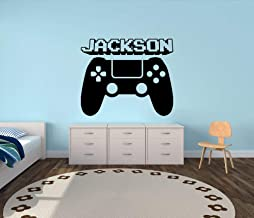 Video Gamer Custom Name Vinyl Wall Decal Sticker with Playstation Controller