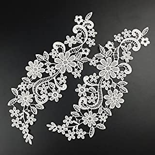 1 Pair Beautiful Black Flower Embroidery Patch Neckline Lace Applique Trims Collars Sewing DIY Crafts (Style C White)