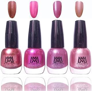 Makeup Mania Premium Nail Polish Frost Shine Nail Paint Combo (Brown, Silver, Pink, Metallic, Pack of 4)