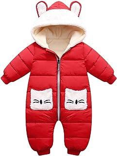 Minizone Strampler mit Kapuze für Baby Jungen Mädchen Winter Overall Baumwolle Jumpsuit Outfits Tasche Langarm Schneeanzug Geschenk 0-3 Jahre