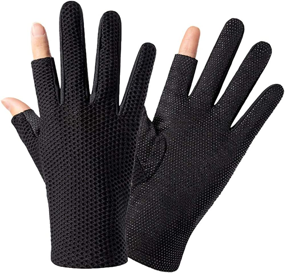 Leouy Stretch Quick-drying Sunscreen Gloves Simple Breathable Mitten Men and Women Exposed Two-finger Fishing Hiking Mitten Men and Women Thin Section Cycling Driving Non-slip Mitten Touch Screen Glov
