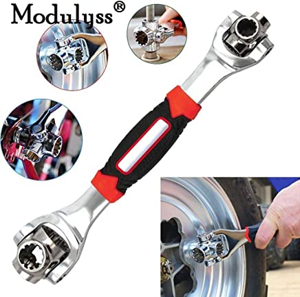 Modulyss® Multi-Function Socket Wrench, 48 Tools in One with 360 Degree Rotating Head, Tiger Wrench Works with Spline Bolts, 6-Point, 12-Point, and Any Size Standard or Metric