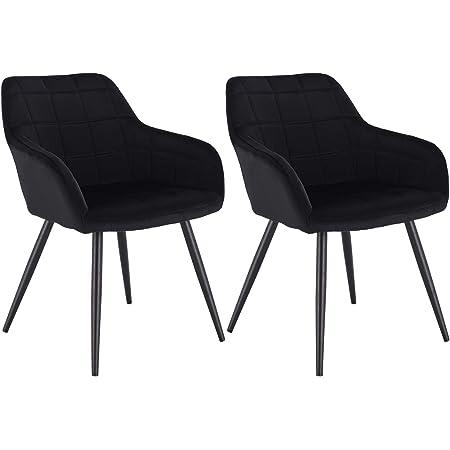 WOLTU Lot de 2 Chaises de Salle à Manger avec accoudoirs, Chaise de Salon Structure en métal et Assise en Velours,Noir BH93sz-2