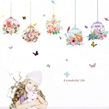 Uotmiki Removable Cute Birdcage Butterfly Flowers Wall Stickers Background Wall Home Decoration (Multicolor, 90cmX30cm)