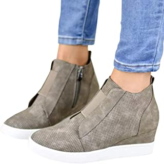 85db2cdf9a72f Womens Wedgie Sneakers Platform High Top Wedge Booties Slip on Heeled  Hollow Out Ankle Boots