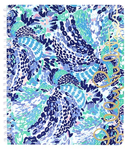 Lilly Pulitzer Blue Large Hardcover Spiral Notebook, 11' x 9.5' with 160 College Ruled Pages, Wave After Wave