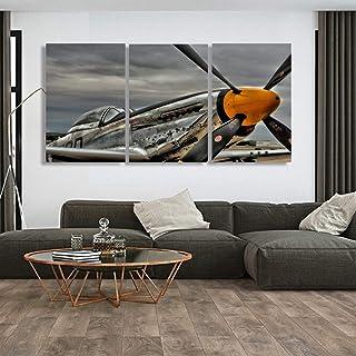 Epikkanvas Empowered LivingTM Lot de 5 x 3 toiles planes P51 Mustang pour salon/bureau (3 pièces, XL : 50 x 70 x 3 pièces)