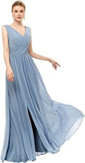YMSHA Women's V Neck Slit Long Bridesmaid Dress with Pockets Chiffon Formal Party Gowns for Juniors BD068