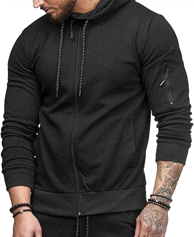 WUAI-Men Sports Track Hoodies Jackets Active Slim Fit Zip up Long Sleeve Athletic Hooded Sweatshirt Pullover Tops