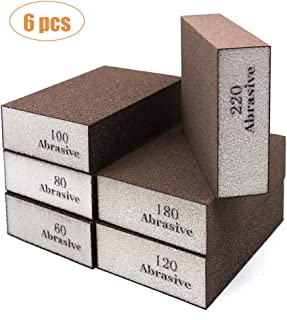 WEWGO 6 Pack Sanding Sponges,Coarse & Fine Sanding Blocks in 60/80/100/120/180/220 Grit Assortment- Great for Pot Brush Pan Brush Sponge Brush Glasses Sanding Wood Sanding Metal Sanding