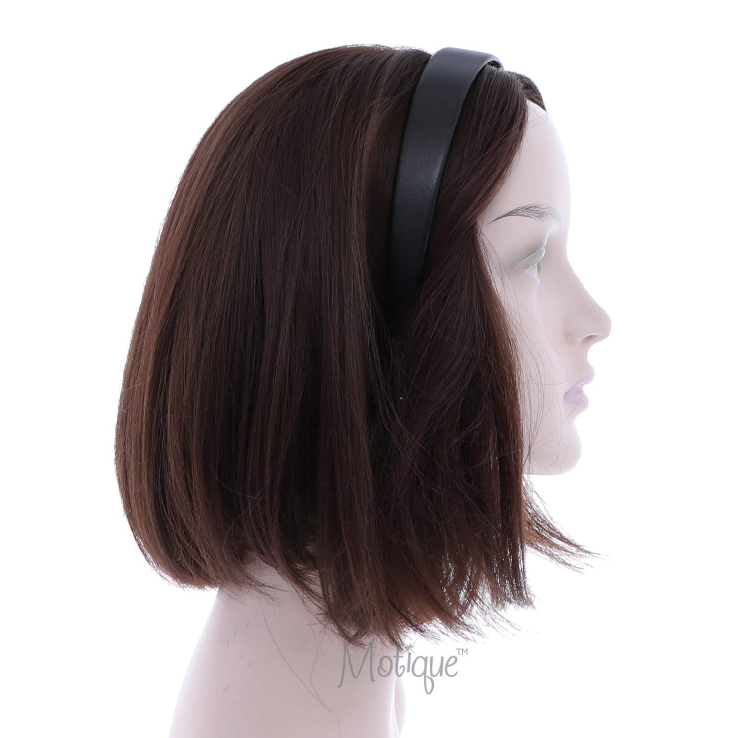 Black 1 Inch Wide Leather Like Headband Solid Hair band for Women and Girls