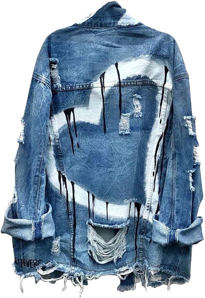 Nite closet Ripped Denim Jacket for Women Punk Rock Cutout Loose Fashion Heart Long Sleeve
