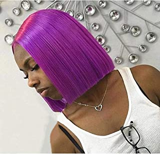 Purple 10 Inch Short Bob 150 Density Short Straight Hair Lace Frontal Synthetic Hair Wigs For Black Women With Baby Hair Bleached Knots (10 Inch/Lace Front Wigs, Purple)