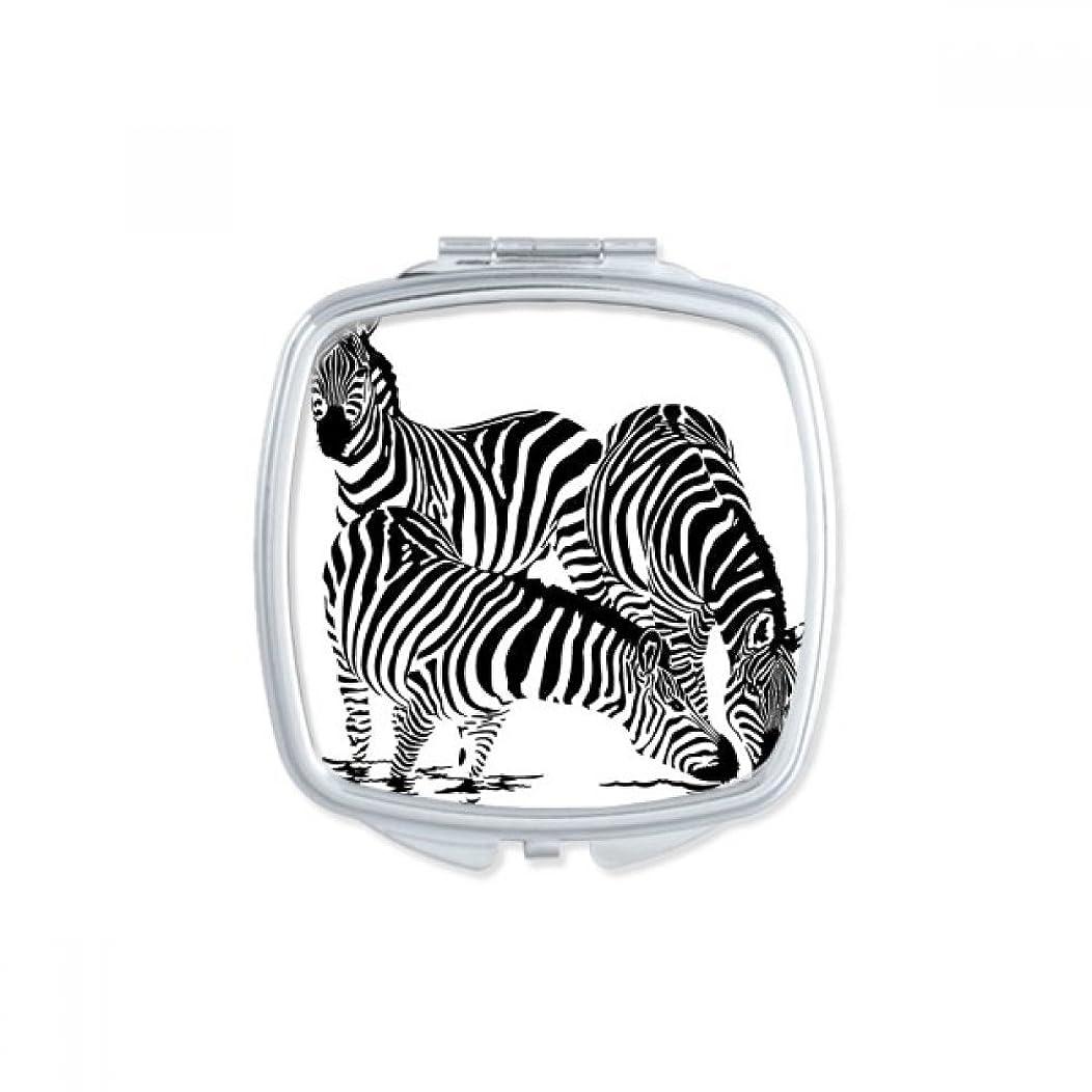 ゲート精神バルーンゼブラブラックと白い影の動物のスケッチ スクエアコンパクトメークアップポケットミラー携帯用の小さなかわいいハンドミラープレゼント