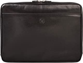 Maxwell Scott Luxury Leather 15 Inch Laptop Sleeve - Verzino Black