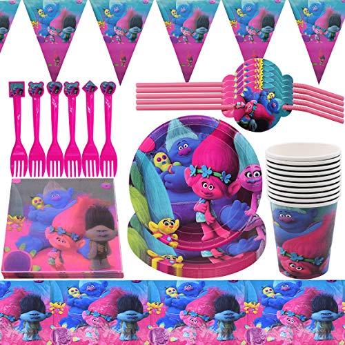Trolls Party Supplies Vajilla para fiestas Diseño Incluye Pancartas, Platos,Tazas, Servilletas, Pajay, Manteles y Tenedores Decoraciones Cumpleaños Trolls, 62 piezas