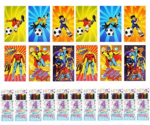 KINPARTY  - 6 Mini libretas de fútbol, 6 minilibretas de superhéroe y 12 cajitas de ceras de colores – Ideales para regalos de cumpleaños, fiestas, celebraciones, relleno de piñatas y regalos