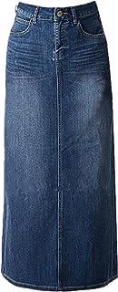 Women Maxi Pencil Jean Skirt- High Waisted A-Line Long Denim Skirts for Ladies- Blue Jean SkirtBlue10