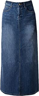 Women Maxi Pencil Jean Skirt- High Waisted A-Line Long Denim Skirts for Ladies- Blue Jean SkirtBlue10