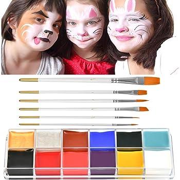 Pinturas Cara para Niños Pintura Facial Maquillaje Niños 12 Colores + 6 Pinceles, Pintura Corporal Pintura Cara Facial Niños YANSHON, para vestidos de carnaval de Halloween y Máscara de Maquillaje: Amazon.es: Hogar
