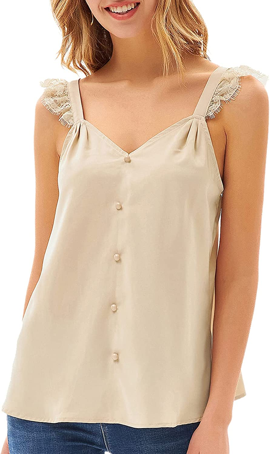 GRACE KARIN Womens Lace Tank Tops Button V Neck Sleeveless Tops Camis Pleated Casual Summer Shirts Blouse