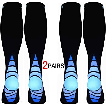 Calves Kelson (2 Pairs) Compression Socks/Stockings for Men & Women.Speed Recovery BEST Graduated Athletic Fit for Travel, L-XL