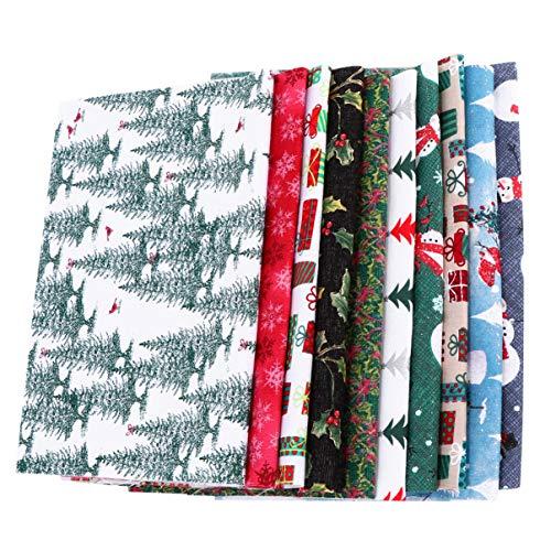 MILISTEN - 10 hojas de tela de algodón de Navidad para patc